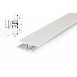 2 Meter LED Profil Back 8 und 10 - Voute weiß lackiert